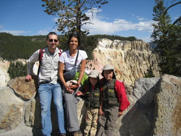 Guest Contributor Tomasz Johannsen, wife Gouri, boys Aidan and Thane at Yellowstone Canyon.