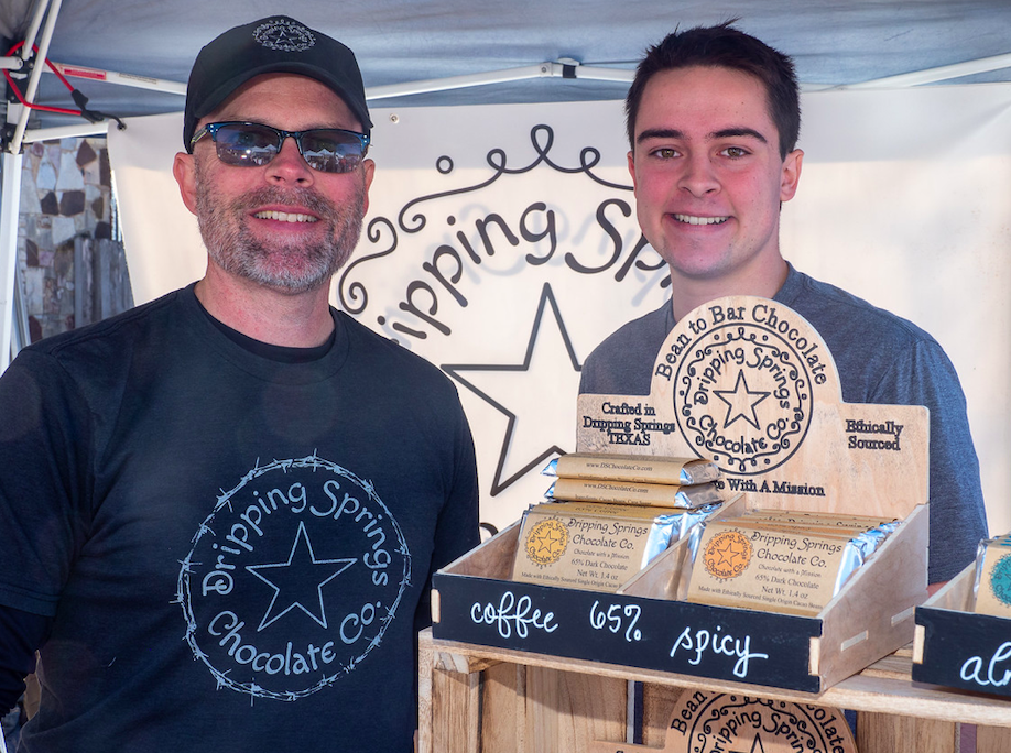 """Bob and Andrew Wilson from Dripping Springs Chocolate Company sampled their wares durng """"Christmas on Mercer"""", Saturday, December 7th, 2019. Photo by Dave Wilson."""