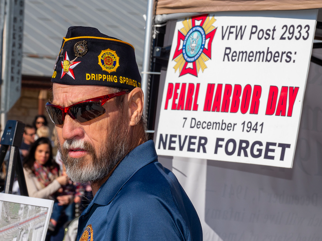 Marvin Smith of the DS American Legion manned the Patriot's Hall Booth. The day also commemorated the 78th Anniversary of the attack on Pearl Harbor. Photo by Dave Wilson