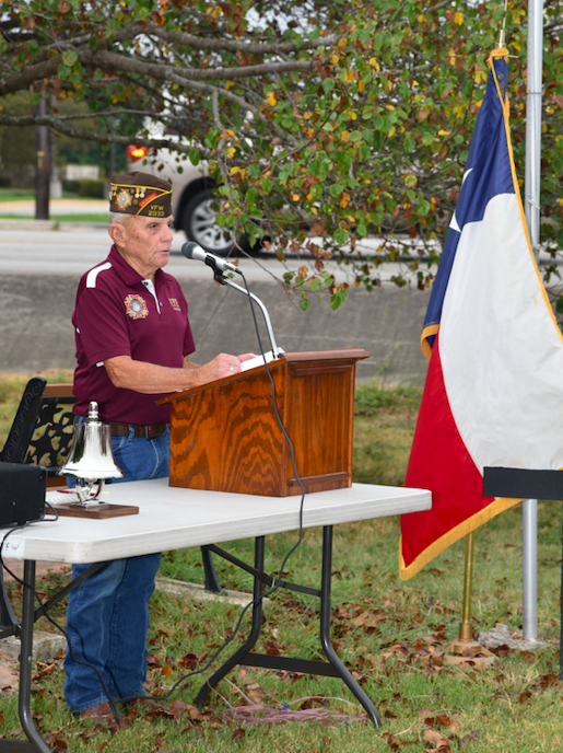 "VFW Commander Ronnie ""Shorty"" Barnett delivered brief remarks."