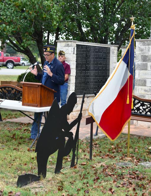 American Legion Commander Ben Adair delivers brief remarks.