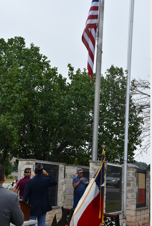 Old Glory is lowered to half-staff in honor of the victims of the 9/11 atttacks.