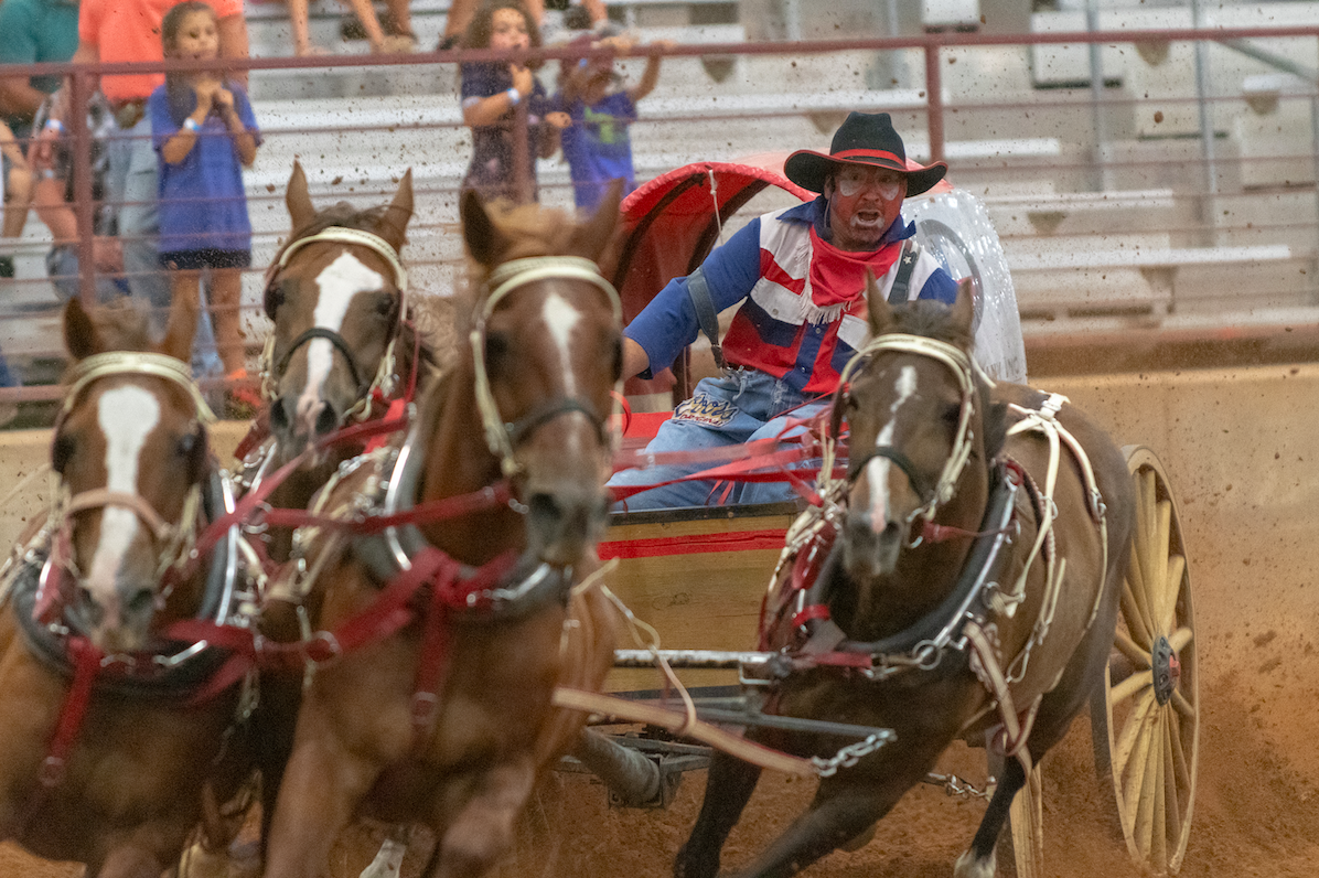 """Cover Shot. Photographer Dave Wilson said, """"This was the highlight of the rodeo for me, and new one that they've not had in Dripping Springs before, as far as I can remember. Chuck Wagon racing—two wagons pulled by teams of four horses tearing around the arena at full gallop. The rodeo clowns expression in the photo is priceless."""""""