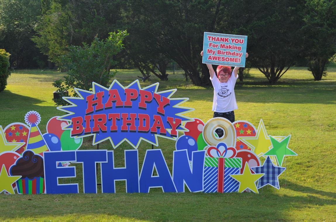 Budding car enthusiast Ethan Farber enjoyed his ninth-birthday car parade..