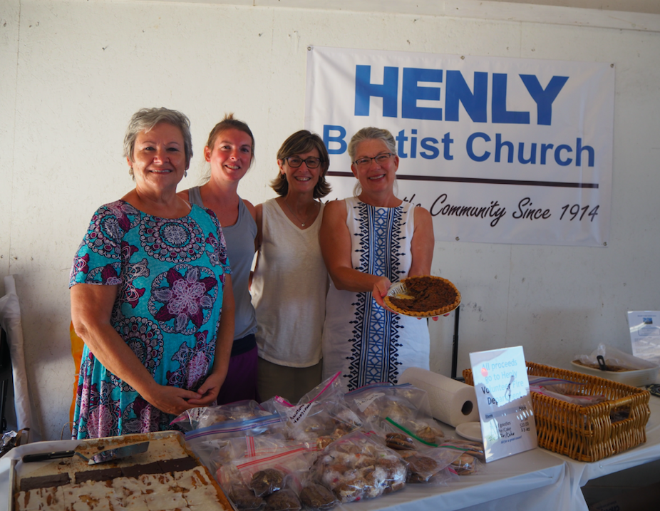 The Henly Baptist Church donated the desserts for the event. (From left to right) Susan Gripka, Andrea Stearns, Shannon Woodruff, and Janet Bradford.