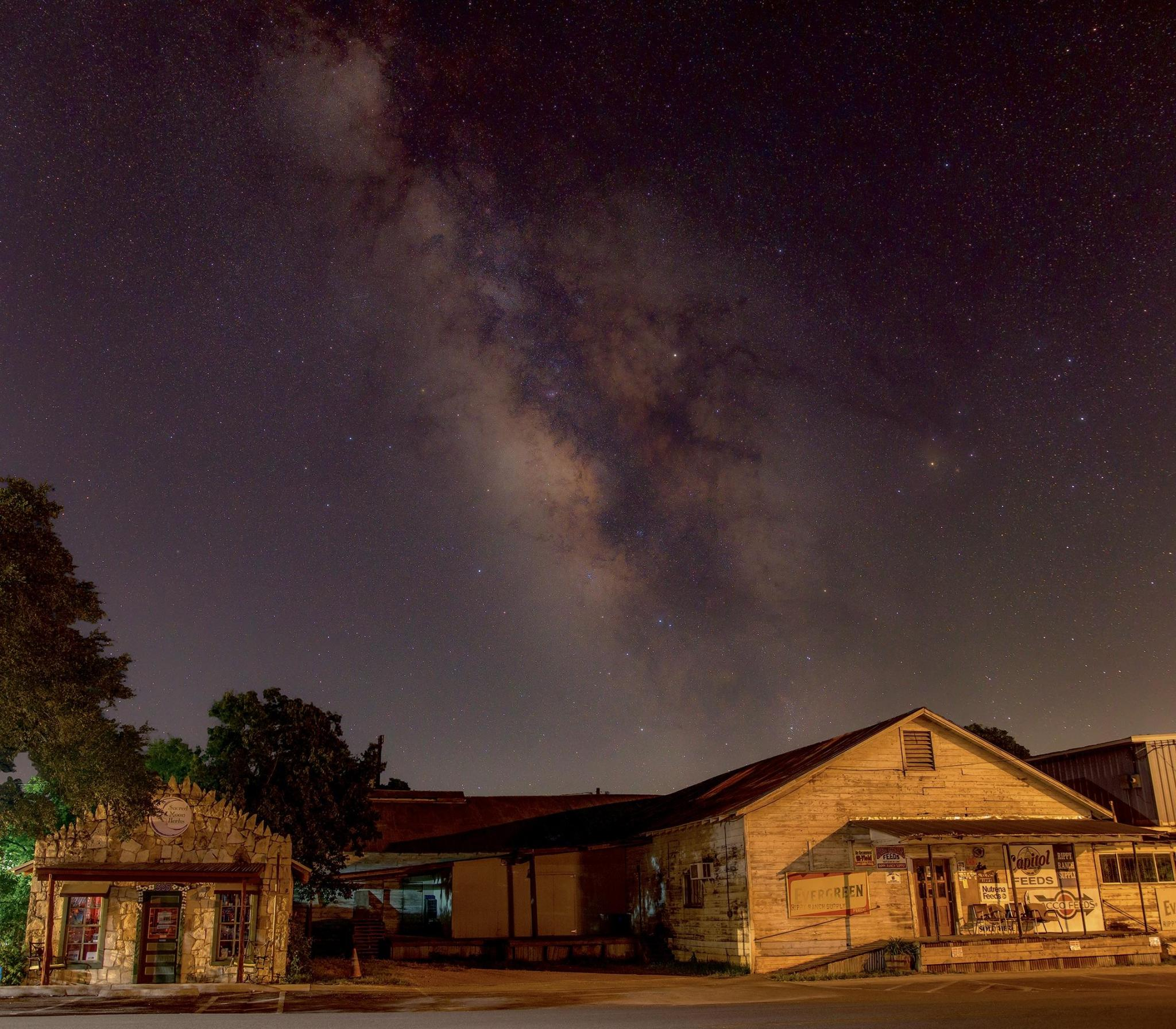 The Milky Way over the feed store on Mercer Street, approximately at 2 a.m.
