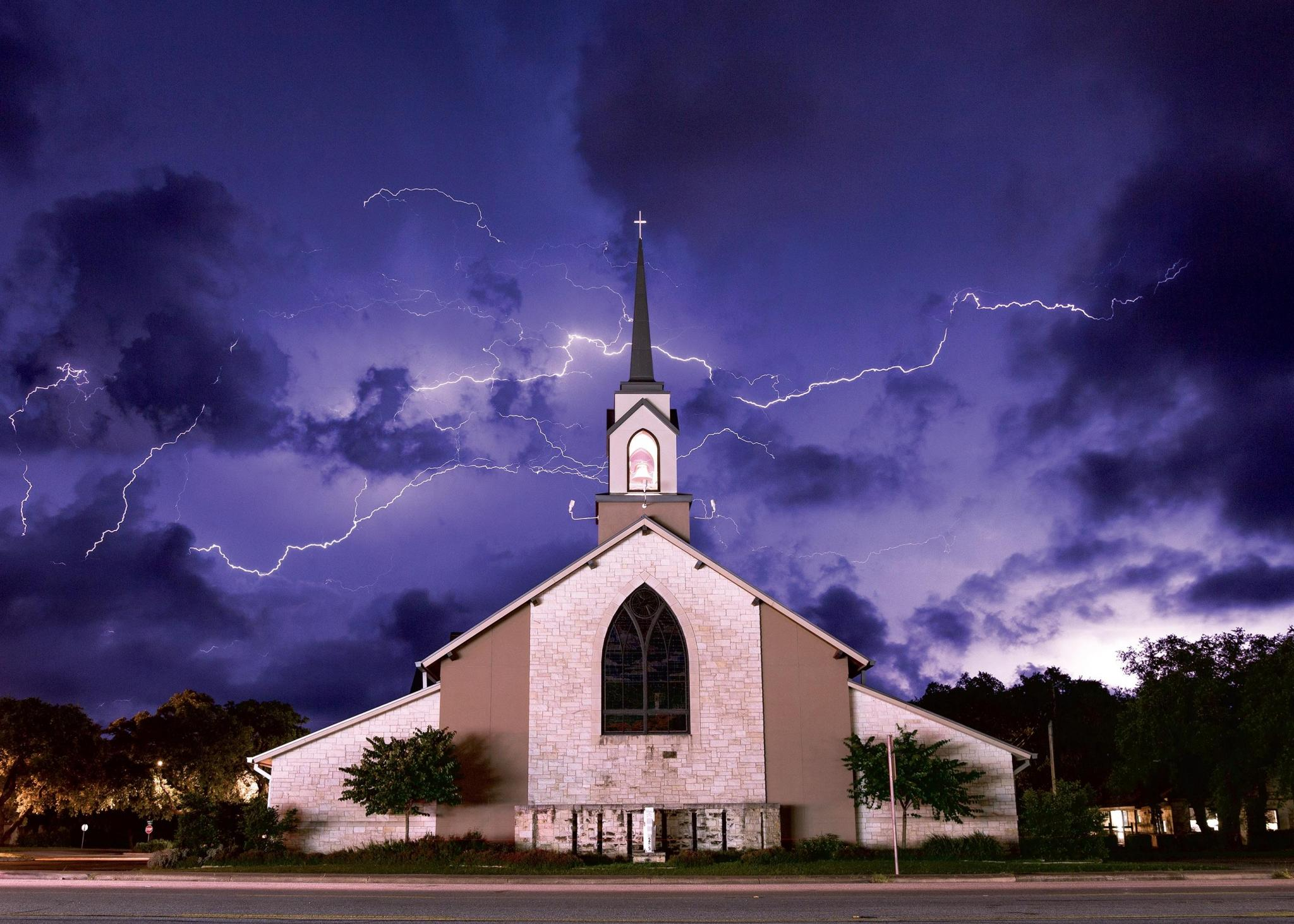 DS First Baptist Church during a thunderstorm.
