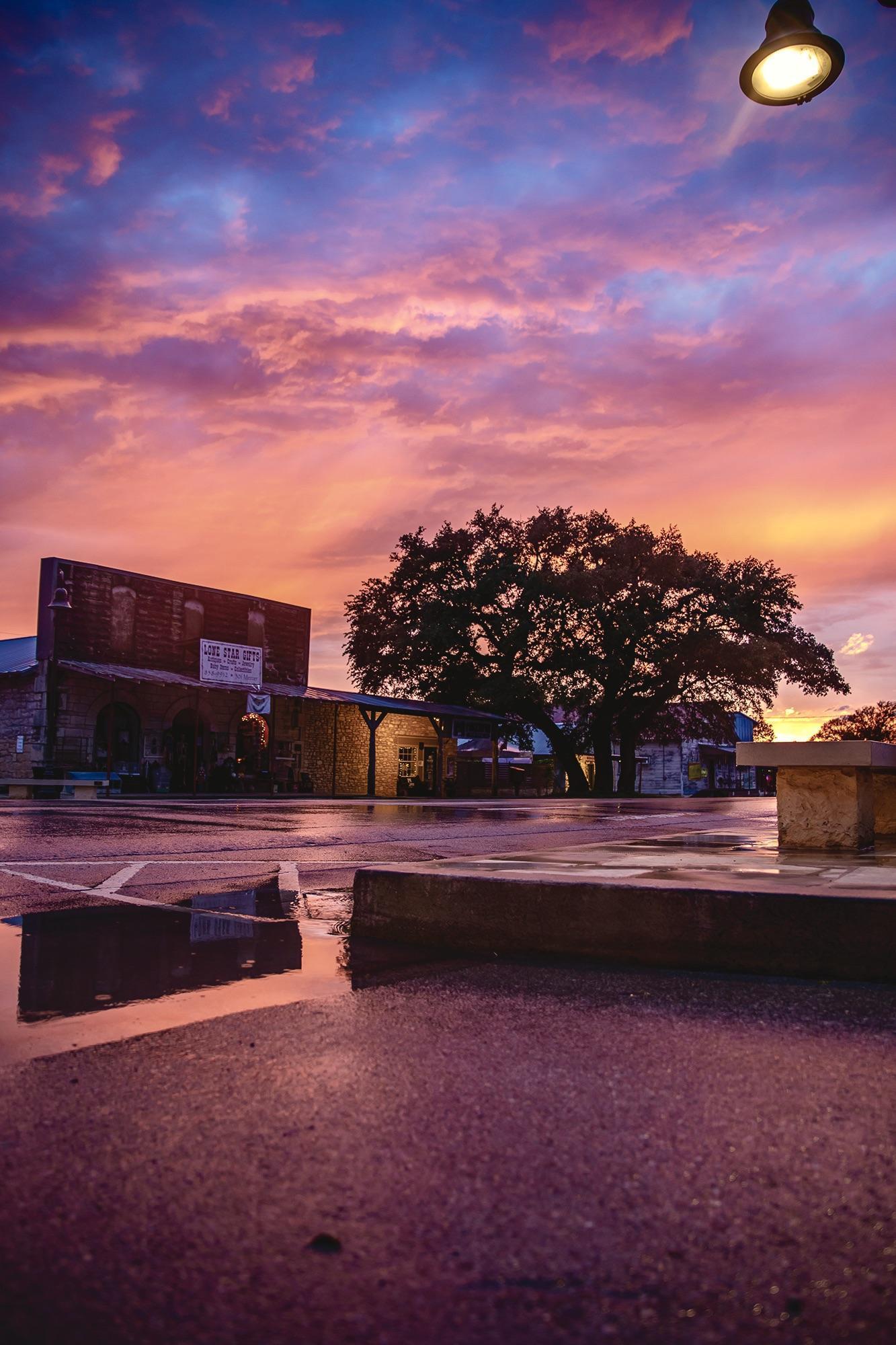 Mercer Street after a thunderstorm at sunset.