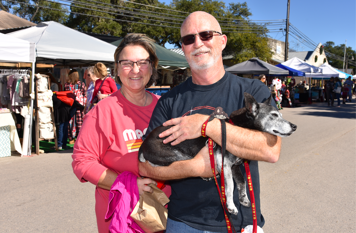 Driftwood residents Bill and Deb Knotts, and their dog Gidget enjoyed the day on Mercer.
