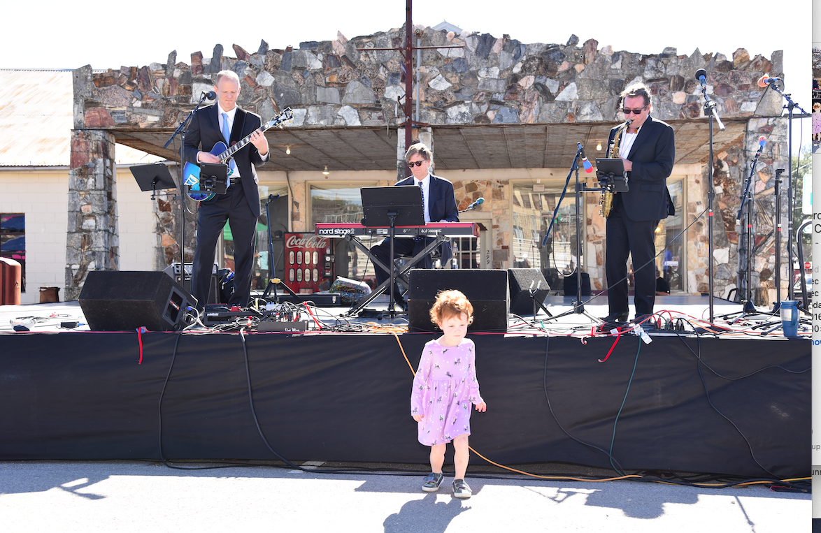 Isla Peichoto, age 3, danced to the music of the Buzz & the Blue Cats during their time on stage.