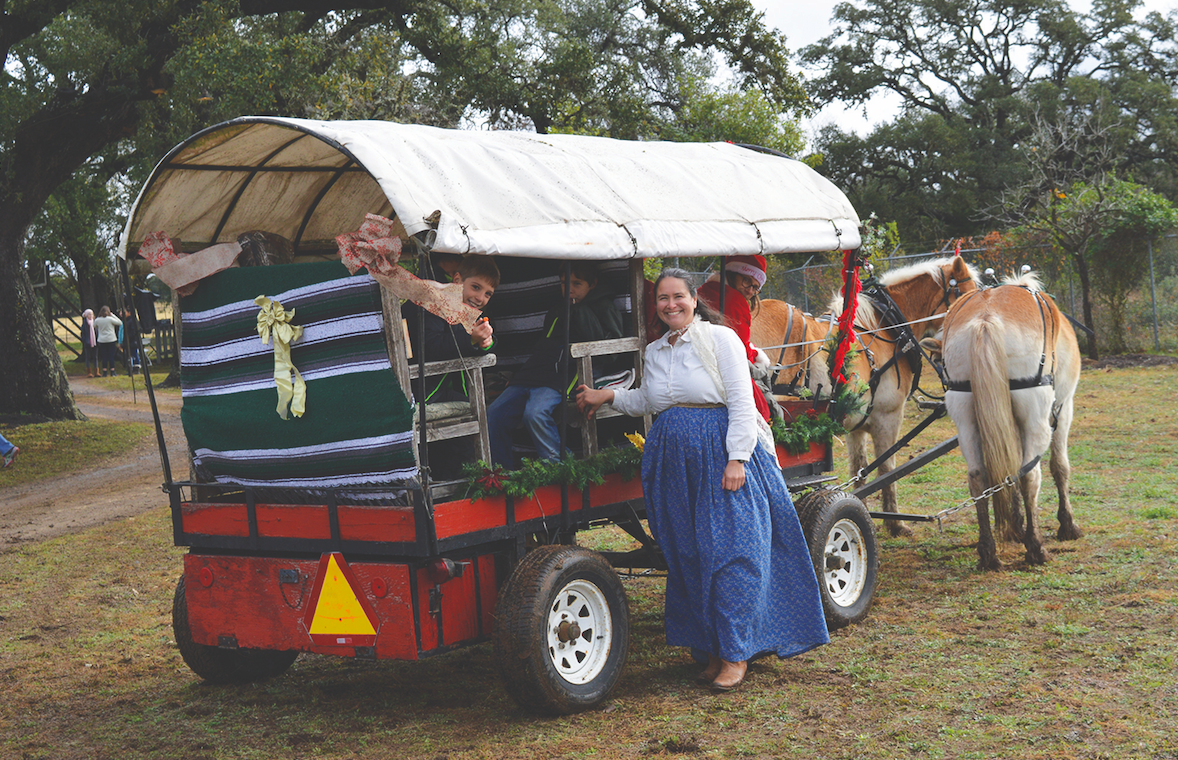 Lorie Carlisle helped with the wagon ride.