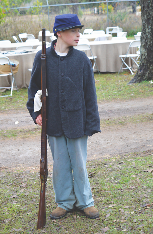 Owen Carlisle stands at attention during the Civil War re-enactment.