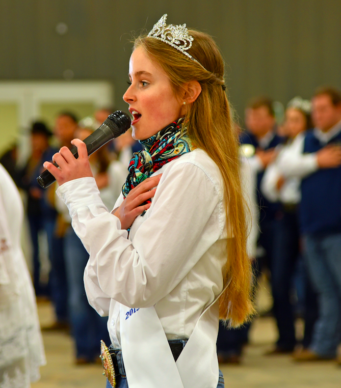 Arielle Wortham sings the national anthem to open the Hays County Livestock Show on Saturday at the Dripping Springs Ranch Park. CENTURY NEWS PHOTO BY JOHN PACHECO