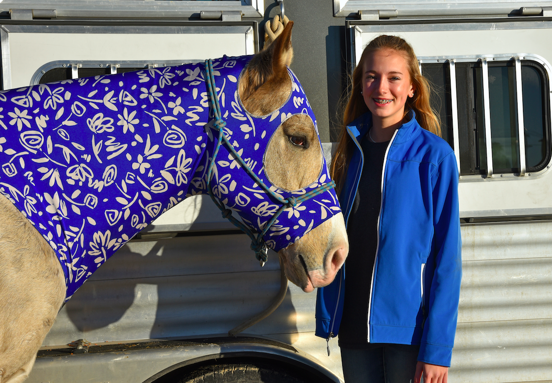 Ashley Wortham with her horse before the horse show at the Hays County Livestock Show on Saturday at the Dripping Springs Ranch Park. CENTURY NEWS PHOTO BY JOHN PACHECO