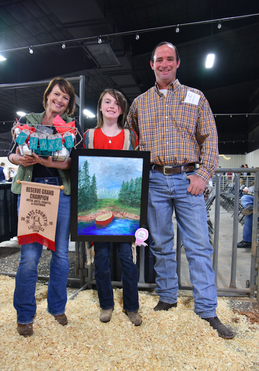 Animals weren't the only thing competing, so were budding artists. Six-grader Finley White from Wimberley won Reserve Grand Champion with her painting. The young painter also recently won the Texas General Land Office Contest, and just returned from a cruise that was the grand prize. She attends Dan Forth Junior High. She has been painting for seven years. CENTURY NEWS PHOTO BY JOHN PACHECO