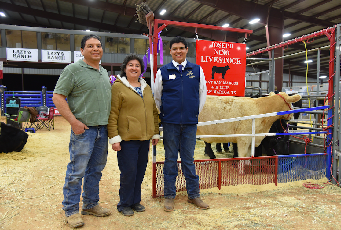 : Joseph Nino from San Marcos with his parents, Alfredo and Leticia Nino, in front of their show cows. Joseph won Reserve Breed Champion for British Steers, and also won Reserve Grand Champion for his home baked apple pie. Joseph has been showing animals and baking for 9 years. CENTURY NEWS PHOTO BY JOHN PACHECO
