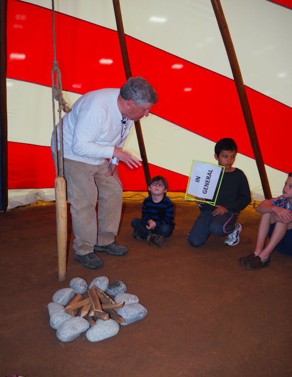Peter Durkin told stories about the night sky from the Northern Cheyenne Indian tradition to children, inside a specially made tepee he made in the motif of an American Flag. Durkin also gives presentations to area schools on tepees and the lives of American Indians.