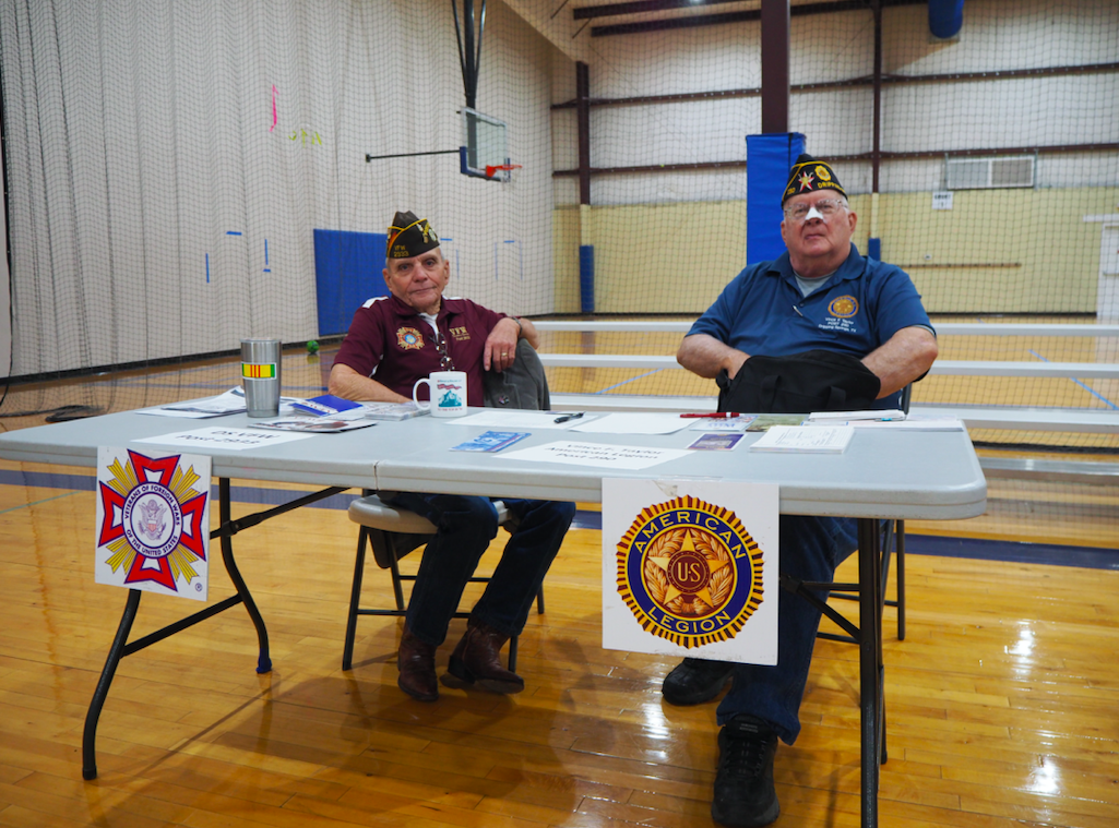 Ronnie (Shorty) Barnett and Gary Hale manned the VFW and American Legion table, which contained information on various veterans' benefits and support organizations.