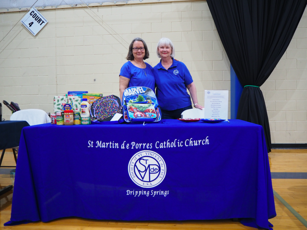 Mary Donohoe and Karen Hostettler represented the St Martin de Porres Catholic Church's St. Vincent de Paul Society, which provides a food pantry for the Dripping Springs Community, as well as emergency financial assistance for utility bills (or similar) on a need basis.